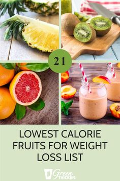 21 Lowest Calorie Fruits For Weight Loss List.  These 21 lowest calorie fruits will help you choose the fruit with the least calories so you can still get all the nutrients you need while you drop the fat. High Protein Smoothies, Green Smoothie Recipes, Fruit Recipes, Fruit Smoothies, Whole Food Recipes, Low Calorie Fruits, Healthy Fruits, Health And Fitness Tips, Health Tips
