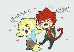 707, Yoosung, funny, scaring, text, cat, neko, ears, dog, cute, chibi; Mystic Messenger