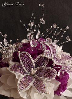 Purple Beaded Flower Bouquet by Glorious Beads~ http://stores.ebay.com/Glorious-Beads-Wedding-Flowers
