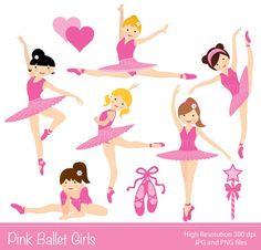 Gráfico digital  rosa de Ballet las niñas por YelloWhaleDesigns