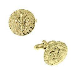 1928® Jewelry 14K Gold-Dipped Fleur de Lis Cufflinks