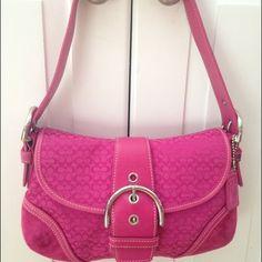 "Magenta/Pink Coach Monogram C Shoulder Bag Fun monogram C Coach bag in magenta/pink color.  10.5""W, 6.75""H In great condition, flap closure with button. Coach Bags Shoulder Bags"