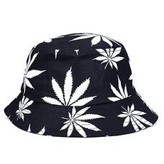 King Star Womens Fashion Black Maple Leaf Summer Bucket Hat Black and white ** Continue to the product at the image link. (Note:Amazon affiliate link)