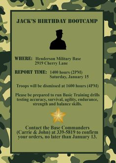 free army birthday party invites