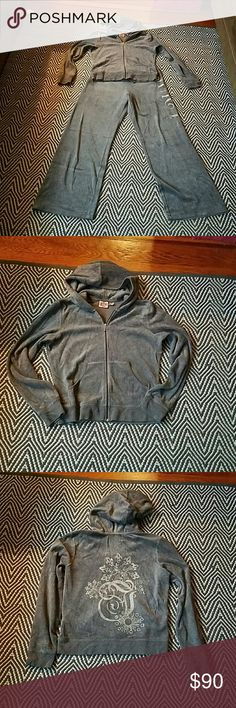 Juicy Couture women's sweat suit Juicy Couture women's sweat suit, dark gray in great condition top and bottom XLarge Juicy Couture Pants