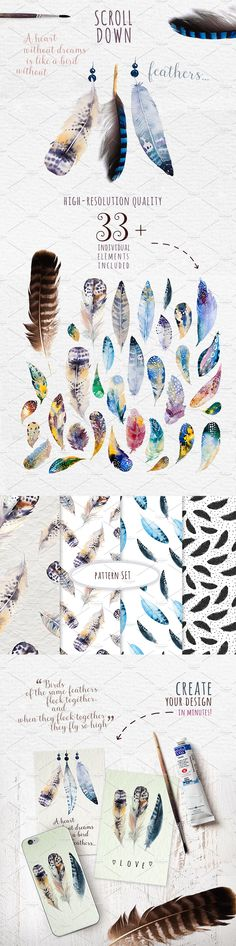 Watercolor feather DIY. BOHO style by Peace ART on @creativemarket