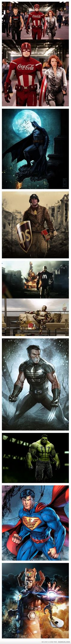 If Superheroes Had Sponsor - The Avengers, Batman, Superman, and Wolverine.