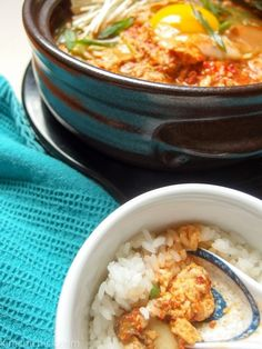 spicy, warm Korean tofu stew with a side of rice