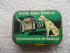 Original Vintage Germany Gramophone Needle Tin Dog Radio | eBay