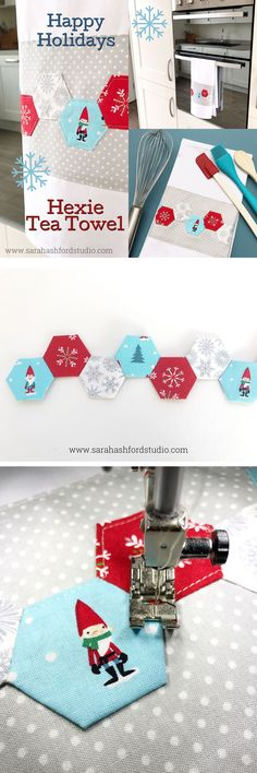 Super cute Christmas Hexie Tea Towel tutorial by Sarah Ashford. Such a fun Christmas gift idea; learn how to sew hexagons! #christmasgifts #christmassewing #hexies #hexagons #hexagontutorial #christmasfabric #teatowel via @polkadotchair