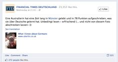 """Financial Times Deutschland shares """"What I Know About Germans"""" on its Facebook wall."""
