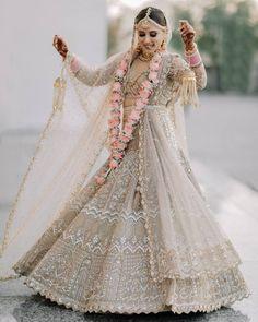 (C) Parulgandhimadaan | (C) Parulgandhi | (C) Samairasandhu | Bridal lehenga | Pastel brides | Bridal twirl #bridallehenga #lehenga #bridaloutfitideas #pastelbrides #pastellehenga #bridaltwirl #twirlingbride #whitelehenga Indian Wedding Planning, Wedding Planning Websites, Gold Lehenga, Bridal Lehenga, Bridal Dresses, Flower Girl Dresses, Lehenga Designs, Bridal Portraits, Bridal Looks