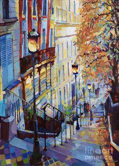 Paris Monmartr Steps - Het perspectief dat alles boven af de trap gemaakt is en een kijk geeft naar de straat in de avond, is zeer mooi. De bomen geven een herfst gevoel en de mensen een knus gevoel. De kleuren die zijn gebruikt voor de treden en de huizen komen mooi samen tot één geheel op straat. De lantaarn palen zijn de aandachtstrekkers met een mooie vuur gele kleur die verlichting geven aan de schilderij. De rode huis is het interessants. De tegeltjes geven het een unieke twist.