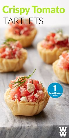 Delicious healthy app idea: These Crispy Tomato & Feta Phyllo Tartlets are so easy to make, bake & take with you to a dinner party. Tap for the full recipe.