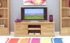 buy baumhaus mobel oak 6 drawer widescreen television cabinet online by baumhaus furniture from cfs uk at unbeatable price
