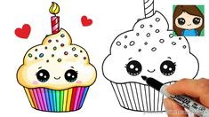 cupcake cake drawing birthday draw drawings easy muffin stuff fun simple cupcakes step card cartoon kawaii cakes cool cards party