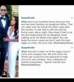 LaLa Anthony Called Out for Cheating on Carmelo Anthony with Rapper on Instagram