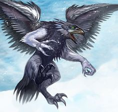 Valravn- Danish folklore: a supernatural raven with the ability that when it eats the heart of a dead person it can shapeshifting into that person. Once some valravn took the shape of a fallen king and led a whole kingdom astray.