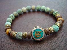 Tibetan Turquoise Om Mala Bracelet // African Turquoise &