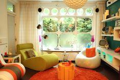 living rooms, home interiors, bright color, retro design, living room designs, colorful homes, live room, modern interiors, home interior design
