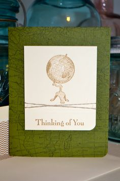 Thinking of You Globe Card by TheRoundedCorner on Etsy