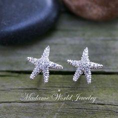 CZ Starfish Stud Earrings, Dainty Starfish Earrings, Summer Wedding Starfish Earrings by MadameWorldJewelry on Etsy https://www.etsy.com/listing/288452483/cz-starfish-stud-earrings-dainty