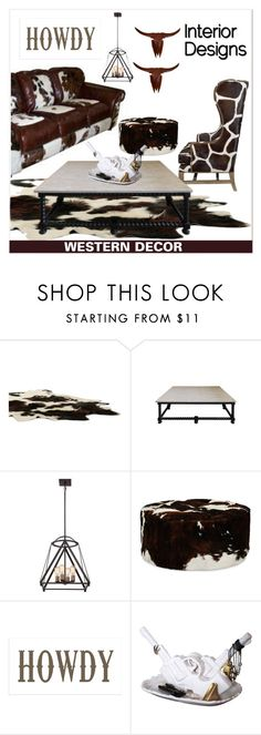 """WESTERN DECOR"" by arjanadesign ❤ liked on Polyvore featuring interior, interiors, interior design, home, home decor, interior decorating, Quoizel, Le Coterie, Imm Living and NOVICA"