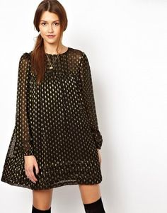 Asos Smock Dress with Lurex Spot - Lyst
