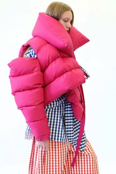 Pink puffa jacket with ties