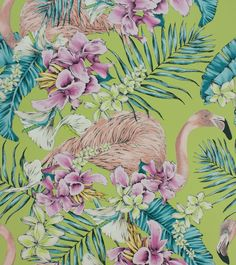 Flamingo Club Lime, Fuchsia & Peacock wallpaper by Matthew Williamson