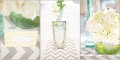 loving the light gray chevron table runner. against the aqua and clear jars...it's beautiful and refreshing