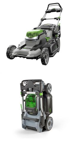 This is the most powerful rechargeable mower on the market and the first to match or surpass the performance of premium gas-powered models. No gas, no fumes, and a lot less noise. It folds up, too, for easy storage where space is limited.