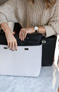 """""""The light grey is a great neutral alternative to my black shell, but there are tons of great colors and, you guys, the convenience of not having to pull out all of your stuff when transitioning from one bag to another is a godsend."""" - Mary Orton of Memorandum sharing why she loves the Shell+ Design feature of the Seville laptop tote. The Seville is available for 13"""" and 15"""" laptops. Designed by Lo & Sons."""