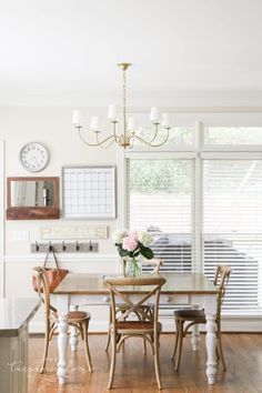 Traditional Brass Chandelier in the Kitchen | The Turquoise Home