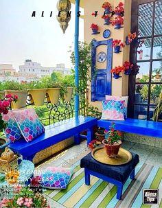 Indian Room Decor, Morrocan Decor, Moroccan Theme, Morrocan Interior, Morrocan House, Moroccan Garden, Small Balcony Design, Small Balcony Decor, Balcony Decoration