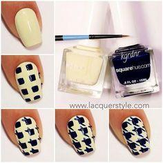 Blue boxs #nailart #white #black #houndstooth #polish - bellashoot.com