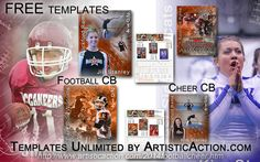 Our templates can be used for any level from pee wee to pros and perfect for you whether you are a seasoned pro or a  mom or dad with a camera.  Make $1000s this season with these FREE templates or use to just create a wonderful keepsake for your own child!  For details please go to  http://www.artisticaction.com/2014footballcheer.htm