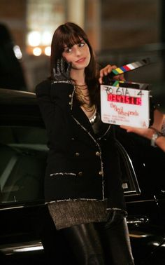 Anne Hathaway during the filming of The Devil Wears Prada