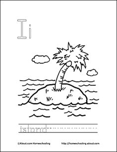 Letter I Coloring Book - Free Printable Pages: Island Coloring Page