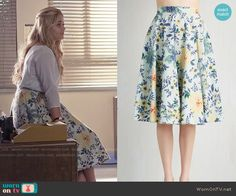 Ali's blue and yellow floral skirt on Pretty Little Liars.  Outfit Details: https://wornontv.net/55388/ #PLL