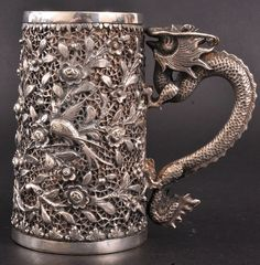 "A CHINESE SILVER TANKARD  www.LiquorList.com  ""The Marketplace for Adults with Taste"" @LiquorListcom   #LiquorList"