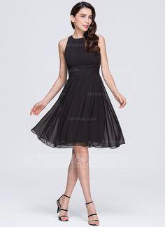 [US$ 112.49] A-Line/Princess Scoop Neck Knee-Length Chiffon Bridesmaid Dress With Ruffle (007074679)
