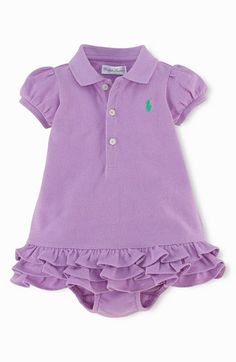Ralph Lauren Embroidered Polo Dress Baby Girls White 9 Months