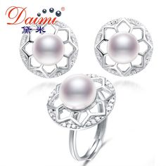 Daimi Big Natural Freshwater Pearl Jewelry Sets Charm Hollow Flower Pearl Earrings Rings Set Women Engagement Fine Jewelry DF ** AliExpress Affiliate's buyable pin. Click the VISIT button to find out more on www.aliexpress.com