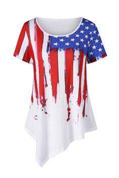2c59593b60d3b USA Flag Print Asymmetric Hem Blouse Short Sleeve