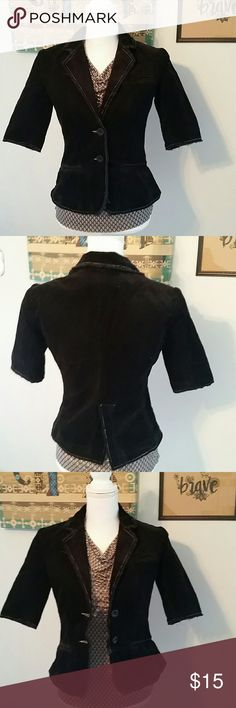 It jeans black cordoroy jacket Stylish short sleeves black jacket frayed trim for an edgy look. Bust approx 34 inches. It jeans  Jackets & Coats