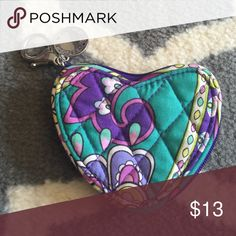 Vera Bradley heart coin purse Adorable heart shaped coin purse easily can be attached to keys. Like new condition Vera Bradley Other