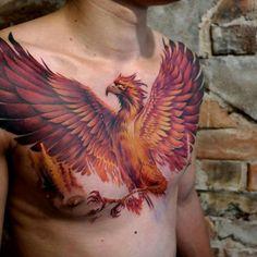 chest pecho tattoo tatuaje hombre man fenix phoenix