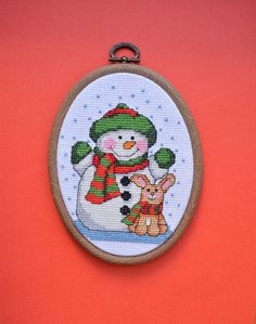 Snowman and bunny - Completed Cross Stitch, Christmas Decoration, Wall Hanging, Hand embroidery, Hoop art - pinned by pin4etsy.com