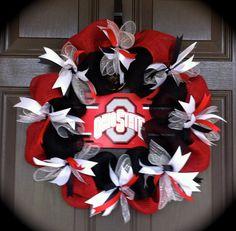 Ohio State Wreath, OSU Wreath, Buckeye Wreath, Red and black Burlap Wreath, Football Wreath by CraftElegance on Etsy Sports Wreaths, Xmas Wreaths, Deco Mesh Wreaths, Door Wreaths, School Wreaths, Wire Wreath, Burlap Wreaths, Ohio State Wreath, Buckeye Crafts